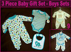 BABY 3 Pc ROMPER GIFT SET - BOYS ONESIES with Bib Blue 0 -3,  3 - 6 mths - NEW