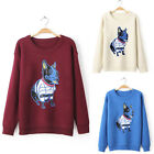 Lady Lovely Dog Knit Embroidered Slim Top Pullover Jumper Casual Party Sweater F