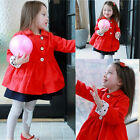 Baby Girls Kids Red Coat Jacket Winter Autumn Trench Coat Outwear Parka 2-7Y