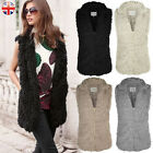 LADIES WOMENS FUR GILET SHAGGY SHEEP QUILTED WAISTCOAT WARM WINTER COAT VEST TOP