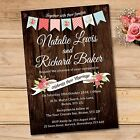 Vintage Wedding Day / Evening Invitations & Envelopes, Brown Wood Barn Bunting