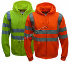 HI VIZ VIS Visibility Hooded Reflective Work Zip Fleece Sweatshirt Jacket S-5XL