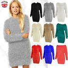 LADIES WOMENS LONG FLUFFY JUMPER DRESS SOFT FURRY MOHAIR OVERSIZED STRETCHY TOP