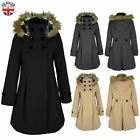 LADIES WOMENS LONG DOUBLE BREASTED DUFFLE COAT FUR HOODED WINTER TRENCH JACKET