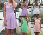 Embroidery Croche Lace Cocktail Party Wedding Evening Mini Dress AU SELLER dr027