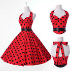 Vintage Retro Halter Polka dot Swing Red Housewife pinup Rockabilly Dress S-XL