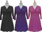 NWT Plus Size Women 3/4 Sleeves Polka Dot Surplice Neckline Side Sash Dress