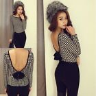 Sexy Women Houndstooth Backless Bow Bodycon T Shirt Party Clubwear Top Blouse F