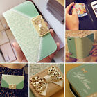 Fashion Wallet Card Holder PU Leather Flip Case Cover For iPhone Samsung Galaxy