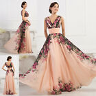 VINTAGE FLORAL LONG Mother of the Bride Wedding Party Prom Evening Formal Dress