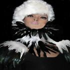 FEATHER COLLAR WHITE BLACK GOTH FAIRY BURLESQUE NARNIA COSPLAY GAME OF THRONES
