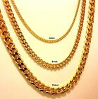 "18""-30"" Men's Stainless Steel 3-6-10mm 24K Gold Plated Cuban Link Chain Necklace"