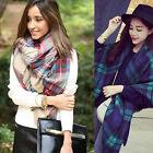Lady Winter Warm Scotland Cashmere blend tartan Checked Plaid Scarf Shawl Wrap