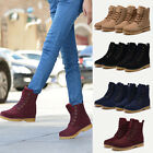 Unisex Womens Mens Leather Mid Calf Boots Snow Boots Warm Winter Lace Up Shoes