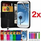 2x New Wallet Leather Case Cover - Samsung Galaxy S3 + Stylus + Screen Protector