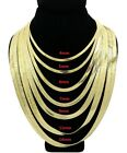 New Unisex 14K Gold Plated Flat Herringbone Chain Necklace