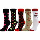 Womens Ladies Girls Love Hearts Flowers Mid Calf Ankle Crew Short Socks Lot New