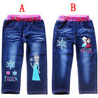 Frozen Elsa Anna Princess Jeans Kids Toddlers Girls Denim Trousers Pants 3-7Y
