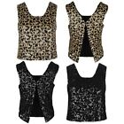 WOMENS LADIES SEQUIN VEST CROP TOP STRAPPY SLEEVELESS PARTY EVENING XMAS DRESS