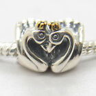 New Swan Embrace Two Tone 925 Sterling silver /Gold Charm Valentine's Day
