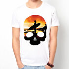 Skull Surf Skate BMX Beach Sunset wave game vacation gift white t-shirt