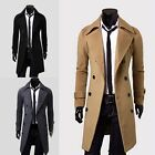Popular Warm Double Breasted Wool Blend Trench Coat Jacket Overcoat 3 Colours