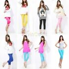 Hot Women's Meryl Simple Candy Color Charm Stretchy Cropped Shorts Leggings