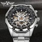 WINNER Men Black Skeleton Automatic Mechanical Stainless Steel Band Sport Watch
