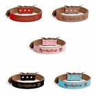 CUSTOM Genuine Leather Pet Collar Dog Cat PERSONALIZED ENGRAVED XS S M L XL
