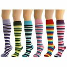 6 Pairs Womens Ladies Girls Stripey Knee High Long Thin Striped Socks New