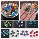 8pcs 13mm Flat Square Cube Faceted Crystal Glass Loose Beads Jewelry Making Lot