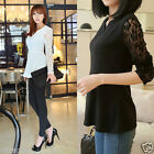Women Fashion Casual Slim Casual Lace Shirts Chiffon Blouses T Shirt Tops Black