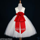 IVORY/RED HOLIDAY CHRISTMAS PARTY WEDDING FLOWER GIRL DRESS 18M 2 4 5/6 8 10 12