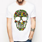 Floral Skull#2 bone flower art design fashion gift party pop white t-shirt