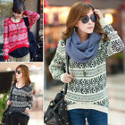 Casual Aztec Fashion Fair Isle Brocade Jacquard Sweater Pullover Jumper Tops New