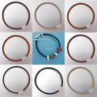 Sterling Silver Hook Clasp 3mm Round Genuine Leather Bracelet Fit European Charm