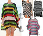 AU SELLER Women Stripe Chiffon Kaftan Long Top Bikini Cover Up Beach Dress sw041