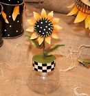 THE ROUND TOP COLLECTION: WHIMSICAL METAL SUNFLOWER w GLASS JAR: GR8 4 CANDY!