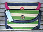 MUD PIE STRIPED STRAW CLUTCH PURSE w POLKA DOT LINING: PINK or BLUE, TOO CUTE!