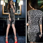 Sexy Leopard Womens Slim Bandage Bodycon Evening Party Cocktail Mini Dress 4 6 8