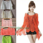 Women Sweat Batwing Hollow Out Knit Gridding Casual Shawl Tops Blouse Overall