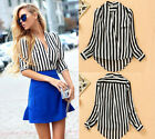 Chiffon Blouse Women Striped Long Sleeve Shirt Casual Top New Fashion Sexy 6-10