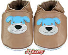 Chocolate Happy Dog Soft Leather Unisex 1st Baby Walker,Pram,Slippers, 0-18m