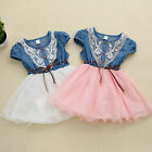One-piece Princess Girls Baby Kids Party Lace Belt Denim Tulle Gown Dresses 1-6Y