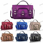 BLUE BLACK TAN BURGUNDY Vintage Faux Leather Buckle Satchel Shoulder Bag #001B