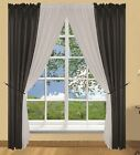 6pc Black and Grey Window Curtains Drapes Set - Tiebacks Included - Palmer