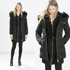 ZARA NEW COLLECTION 2014. BLACK LONG PARKA JACKET ANORAK COAT WITH FUR COLLAR.