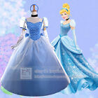 Adult Cinderella Costume Deluxe Ball Gown Dress Cosplay