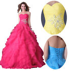 PINK BLUE Bridesmaid Long Evening Party Formal Gown Plus Size Lace up Prom Dress