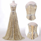 Plus Size Long Glod Sequins Bridesmaid Formal Evening Wedding Party Prom Dresses